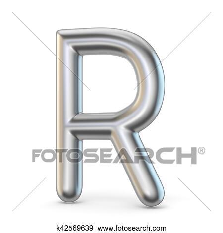 Colección de ilustraciones - metal, alfabeto, símbolo., carta, r, 3d ...