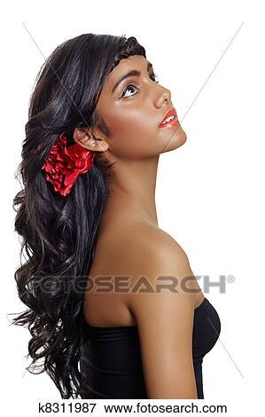 Con Rizado Pelo Marrón Largo Mujer Hermosa Foto K8311987 YxOZ7Z