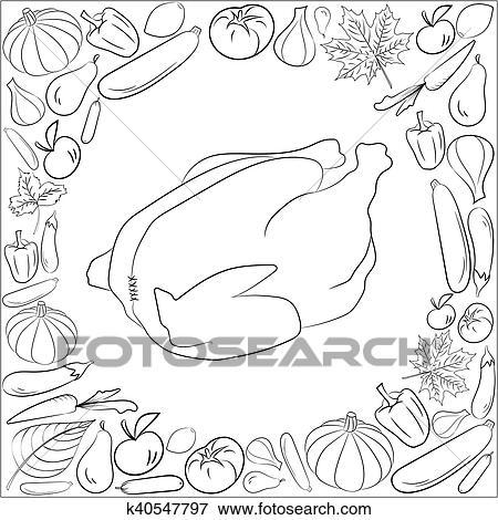 Clip Art - otoño, gráfico, tarjeta, con, pavo, frutas y vehículos ...