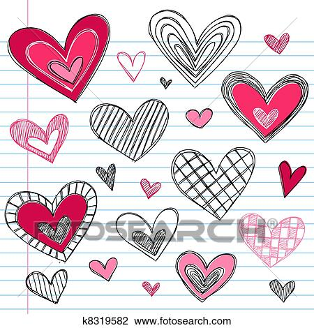 Clipart Of Valentine S Day Love Hearts Doodles K8319582 Search