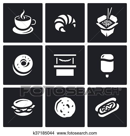 Clipart Of Vector Set Of Street Fast Food Icons Coffee Croissant