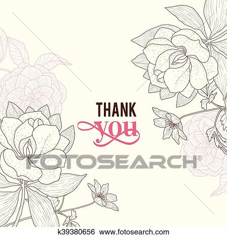 Clip Art Vektor Altmodisch Rosa Braun Rahmen Blumen
