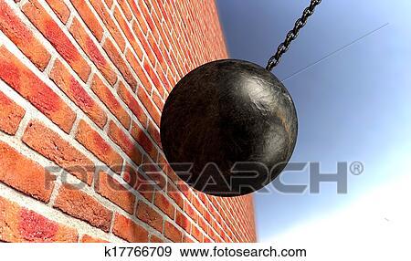 Wrecking Ball Hitting Wall Stock Illustration K17766709