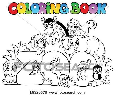 Clip Art Ausmalbilder Zoo Zeichen Mit Tiere K8320576 Suche