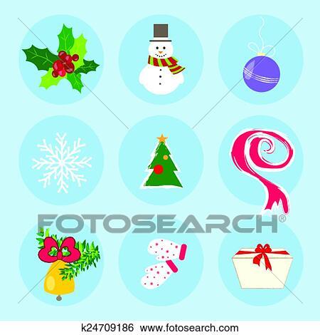 Clip Art Of Christmas Winter Symbols Pattern Holiday Mood Scarf Snow
