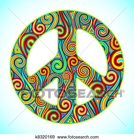 Clip Art Of Colorful Peace K8320169 Search Clipart Illustration