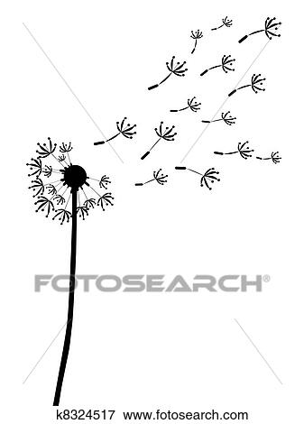 dandelion outline silhouett stock illustration k8324517