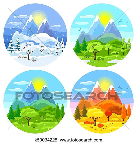 Clip Art - Four seasons landscape. Illustrations with trees, mountains and  hills in winter - Clip Art Of Four Seasons Landscape. Illustrations With Trees