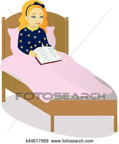 clipart petite fille lire livre dans lit k44617569 recherchez des cliparts des. Black Bedroom Furniture Sets. Home Design Ideas