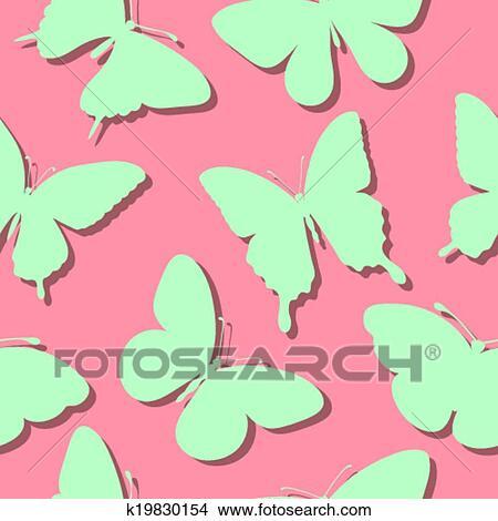 Clipart Seamless Fondo Con Farfalle Silhouette K19830154