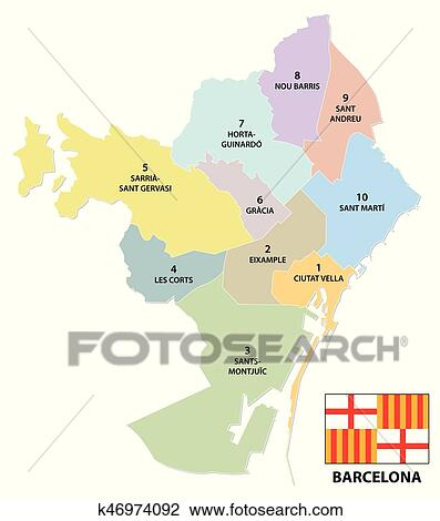 Clipart Of Administrative And Political Map Of The Catalan Capital