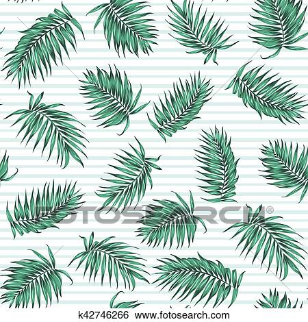 Clip Art Of Blue Green Exotic Tropical Palm Leaves Pattern K60 New Tropical Leaves Pattern