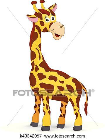 clip art of cartoon cute giraffe isolated k43342057 search clipart rh fotosearch com