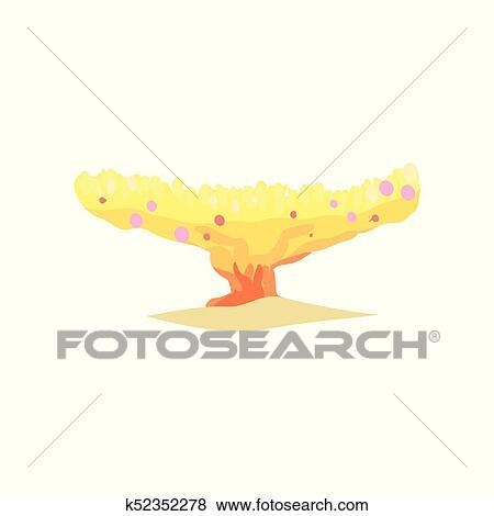 Clip Art - coral amarillo, en, placa, forma, de, tropical, reefs ...