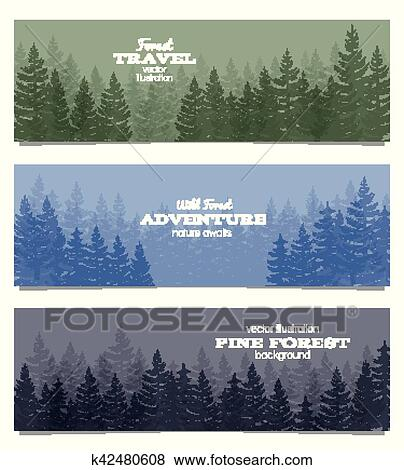 clip art of forest horizon banners pine trees backgrounds