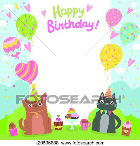 Clip Art Of Happy Birthday Card Background With Dog And Cat