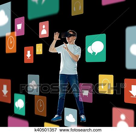 0f605df0f20 Picture of happy man in virtual reality headset or 3d glasses ...