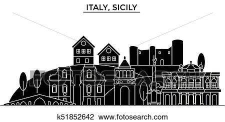 Palermo Skyline - Sicily, Italy - Vector Illustration ... |Sicily Landmark Silhouette