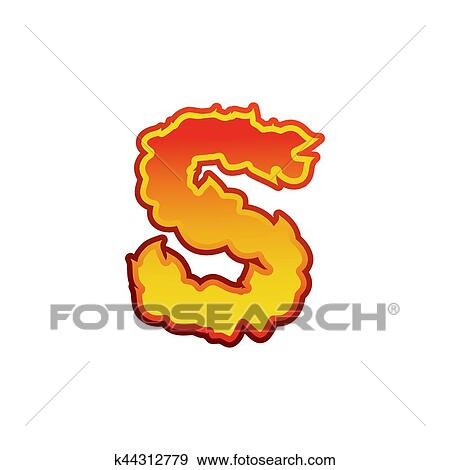 Clip Art Of Letter S Fire Flames Font Lettering Tattoo Alphabet