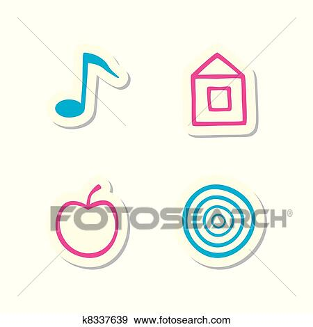 Note Home Apple And Target Icons Clip Art K8337639