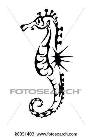 clipart of sea horse black silhouette tattoo k8331403 search clip rh fotosearch com tattoo clip art siamese cats with dogs tattoo clip art free images