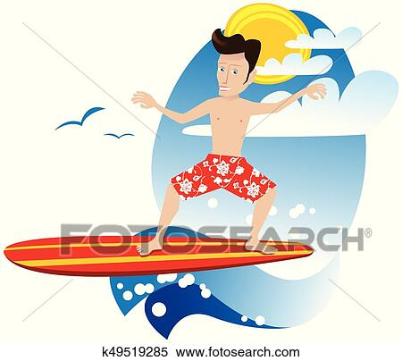 clipart of surfer dude eps k49519285 search clip art illustration rh fotosearch com Cartoon Surfer Cartoon Surfer