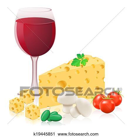 静かな 生命 で チーズ そして ワイン イラスト クリップアート