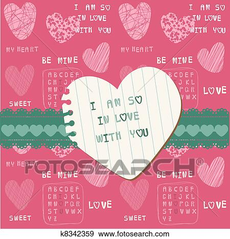 Clip Art Of Cute Love Card For Valentine S Day Scrapbooking In