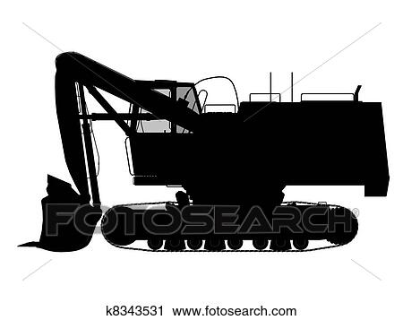 Clipart Of Excavator Silhouette Outline K8343531