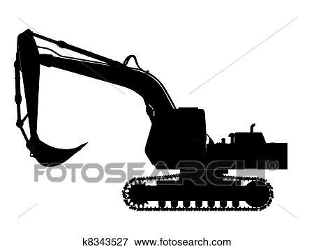 Stock Illustration Of Excavator Silhouette Outline K8343527