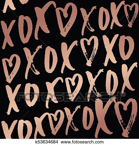 Clipart Of Hugs And Kisses Seamless Pattern With Lettering Rose