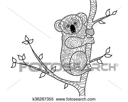 Clipart Koalabär Ausmalbilder Für Erwachsene Vektor K36287355
