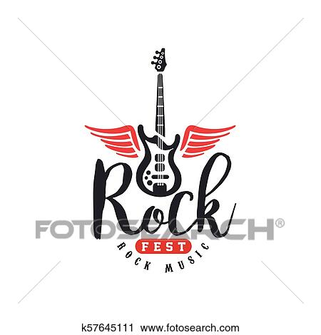 Rock Music Fest Logo Emblem For Rock Festival Guitar Party Musical Performance Design Element Can Be Used For Poster Banner Flyer Print Or Stamp Vector Illustration On A White Background Clipart