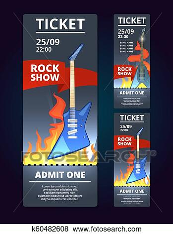 Ticket Design Template Of Music Event Poster Music With Illustration Of Rock Guitar Banner Of Music Concert Clip Art K60482608 Fotosearch