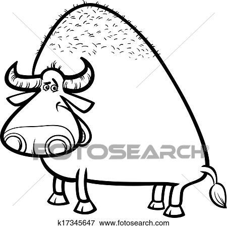 Clip Art - toro, o, búfalo, caricatura, colorido, página k17345647 ...