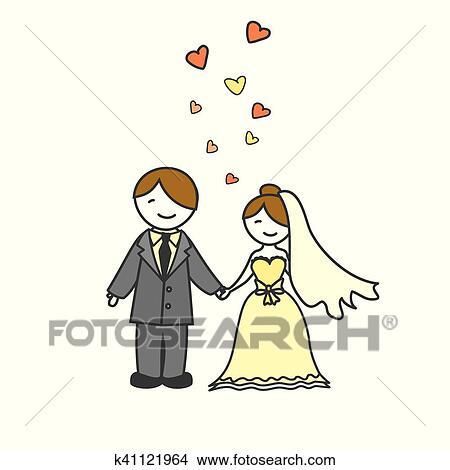 Wedding Card With Cartoon Groom And Bride Clipart K41121964