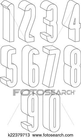 Clipart 3d Schwarz Weiß Groß Zahlen Gemacht Mit Lines