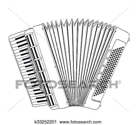 Dessin Accordéon clipart - accordéon, dessin, sur, white., vecteur k33252201