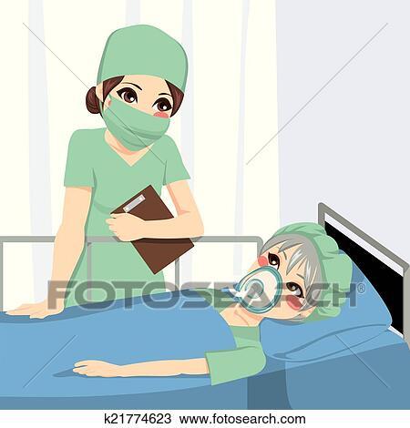Clipart - anestesista, enfermera, y, paciente k21774623 - Buscar ...