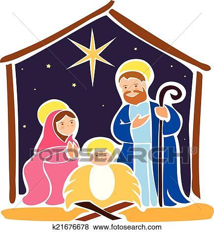 Clip Art Of Baby Jesus In A Manger 5 K21676678