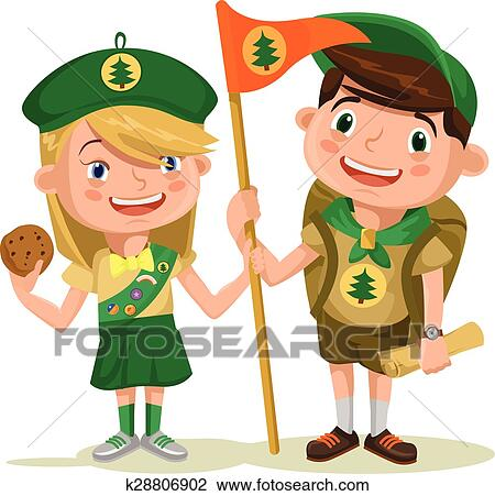 clipart of children scouts k28806902 search clip art illustration rh fotosearch com Cub Scouts scouting activities clipart