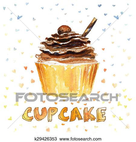 Drawing Of Cupcake K29426353 Search Clipart Illustration Fine