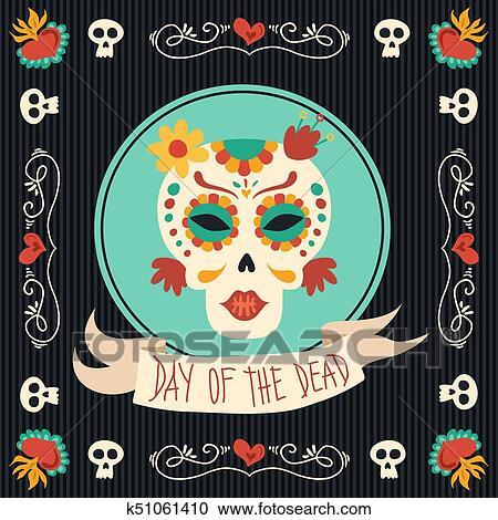 Day Of The Dead Mexican Catrina Sugar Skull Art Clipart K51061410 Fotosearch