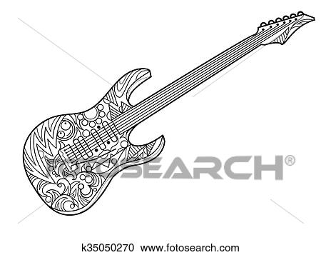 Clipart of Electric guitar coloring book for adults vector k35050270 ...