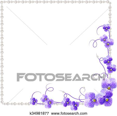 Clip Art of Floral frame with pearls k34981877 - Search Clipart ...
