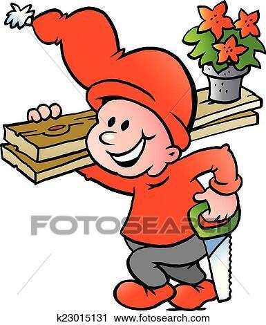 Clipart - glückliches weihnachten, weihnachtshelfer, gehen arbeiten ...
