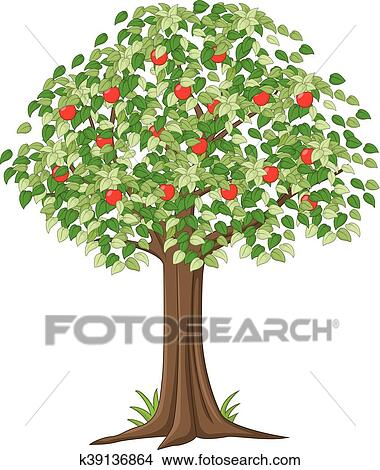 Green Apple Tree Full Of Red Apples Clipart K39136864 Fotosearch