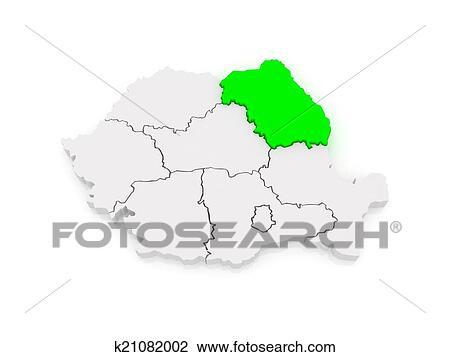 Map of Northeast Region Development Romania. Drawing ...