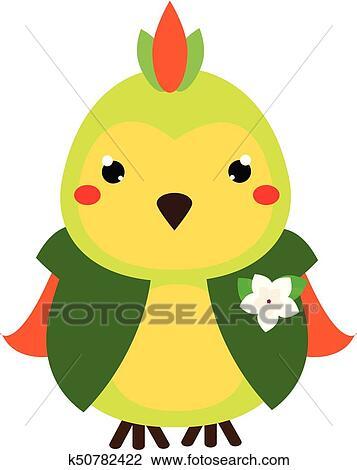 Mignon Parrot Dessin Animé Kawaii Animal Character Vecteur Illustration Pour Gosses Et Bébés Mode Clipart