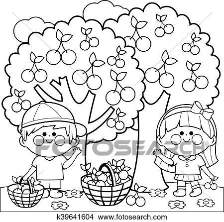 Clipart - niños, cosechar, cerezas k39641604 - Buscar Clip Art ...